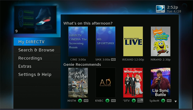 Click to see the DIRECTV menu graphic.