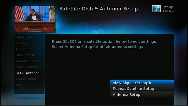 Click to see the DIRECTV Satellite Setup menu