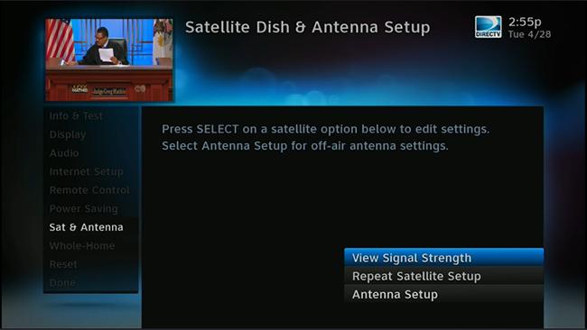 Click to see the DIRECTV Satellite Setup menu
