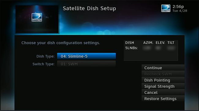 Click to see the dish setup menu