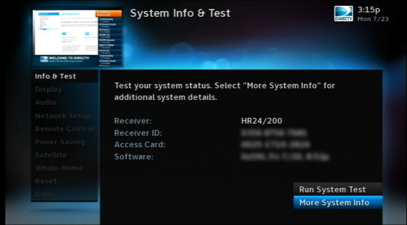 Use the My DIRECTV Setup Menu to Verify Your DIRECTV Satellite Dish