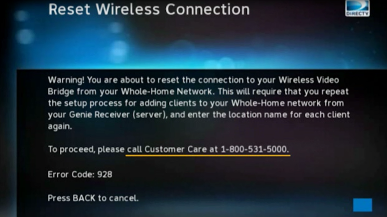 important note: directv wireless genie client reset instructions