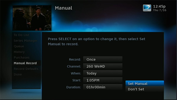 can you create a manual recording on a directv dvr so it s like a rh blog solidsignal com DirecTV HD DVR Model Comparison DirecTV HD DVR Box